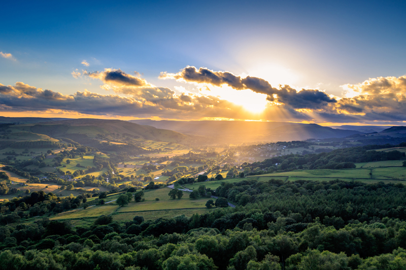 A beautiful sunset on the Peak District